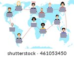 tutor and his online education... | Shutterstock . vector #461053450