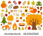 set of cute autumn cartoon... | Shutterstock .eps vector #461062060