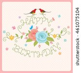 flowers and couple birds... | Shutterstock .eps vector #461075104