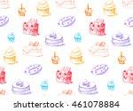 tasty cakes seamless pattern.... | Shutterstock .eps vector #461078884