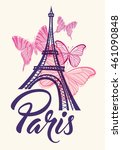 romantic background with eiffel ... | Shutterstock .eps vector #461090848