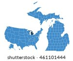 michigan state map | Shutterstock .eps vector #461101444