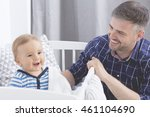cropped shot of a young father... | Shutterstock . vector #461104690