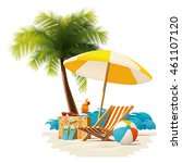 vector travel and summer beach... | Shutterstock .eps vector #461107120