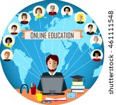 tutor and his online education... | Shutterstock .eps vector #461111548