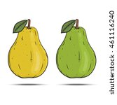 set pears. yellow pear.  green... | Shutterstock .eps vector #461116240