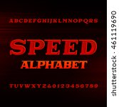 speed alphabet font. oblique... | Shutterstock .eps vector #461119690