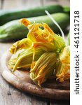 Raw Courgette Flower On The...
