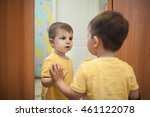 small kid staying by reflection ... | Shutterstock . vector #461122078