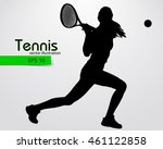 Silhouette Of A Tennis Player....