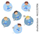 set of football boys team blue... | Shutterstock .eps vector #461131906