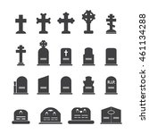 Grave Icons Set. Vector...