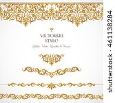 vector set of golden vignettes... | Shutterstock .eps vector #461138284