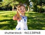 beautiful kid taking selfie in... | Shutterstock . vector #461138968
