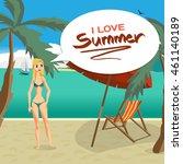 sea landscape beach  palm tree  ... | Shutterstock .eps vector #461140189