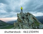 man on top of a mountain at...   Shutterstock . vector #461150494