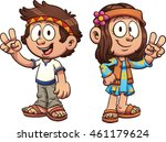 cartoon hippie kids. vector... | Shutterstock .eps vector #461179624