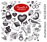 romantic traditional symbols... | Shutterstock . vector #461181424