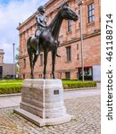 Small photo of High dynamic range HDR Amazone zu Pferde statue (meaning Amazon on horseback) designed by German sculptur Louis Tuaillon in 1890