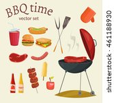 fruit  wine  barbecue  picnic... | Shutterstock .eps vector #461188930