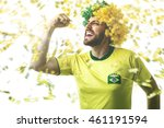 funny fan wearing yellow and... | Shutterstock . vector #461191594