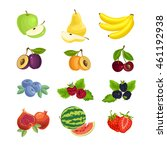 collection of fruit and berry... | Shutterstock .eps vector #461192938