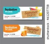 summer pool party ticket...   Shutterstock .eps vector #461207758
