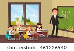math lesson. a teacher with... | Shutterstock .eps vector #461226940