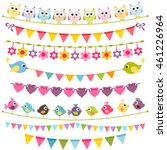 colorful flags and garlands | Shutterstock .eps vector #461226964