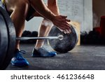 closeup of weightlifter... | Shutterstock . vector #461236648