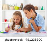 brother and sister learning to... | Shutterstock . vector #461239300