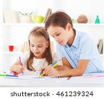 brother and sister learning to... | Shutterstock . vector #461239324