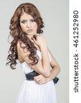 haired girl in a wedding dress...   Shutterstock . vector #461252980