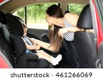 mother and child in car. safety ... | Shutterstock . vector #461266069