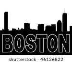Boston skyline black silhouette on white - stock vector