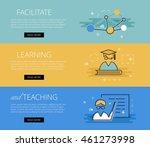 flat line design web banners... | Shutterstock .eps vector #461273998