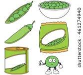 vector set of green pea | Shutterstock .eps vector #461274940