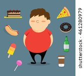 fat boy and fast food. | Shutterstock .eps vector #461280979