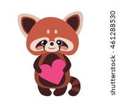 Cute Red Panda With Heart