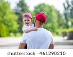 father carries the baby in her...   Shutterstock . vector #461290210