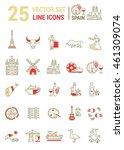vector set of line icons in... | Shutterstock .eps vector #461309074