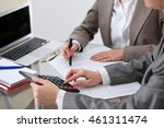 two female accountants counting ... | Shutterstock . vector #461311474