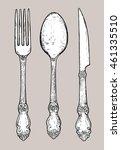 hand drawn vintage silver... | Shutterstock .eps vector #461335510