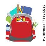 open school backpack with... | Shutterstock .eps vector #461343868