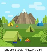 tourist camping tent near the... | Shutterstock .eps vector #461347534
