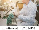 microchip production factory.... | Shutterstock . vector #461349064