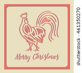 card red rooster straight... | Shutterstock .eps vector #461350270