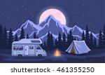 Family Adventure Camping Evening Scene. Caravan camper motorhome rv f journey to mountains. Pine forest and rocks background, starry night sky with moonlight - stock vector