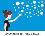 young woman and balls   Shutterstock . vector #46135615