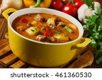 beef stew served with cooked... | Shutterstock . vector #461360530